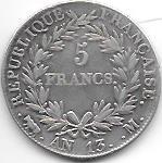 5 FRANCS NAPOLEON EMPEREUR AN 13 M