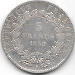 5 FRANCS LOUIS NAPOLEON BONAPARTE1852 A