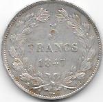 5 FRANCS LOUIS PHILIPPE ROI DES FRANCAIS 1847 BB