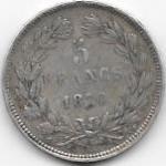 5 FRANCS TYPE CERES SANS LEGENDE 1870 K