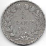 5 FRANCS TYPE CERES SANS LEGENDE 1871 K